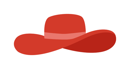 sun protection: Woman panama red hat isolated on white background and flat vector girls hat. Fashion sun protection red panama hat and summer hat color design. Panama red hat style accessory