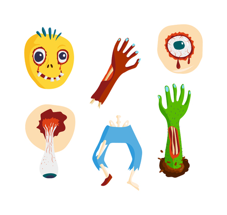 body expression: Colorful zombie scary cartoon elements and magic zombie human body cartoon fun group. Cute green cartoon zombie character part of body monsters vector illustration. Horror zombie people isolated