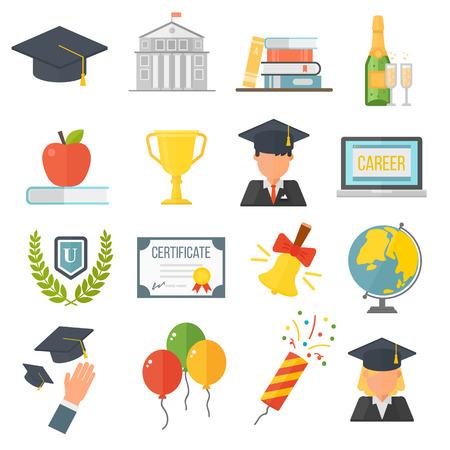 poppers: Education school graduation icons set on white background. Graduation education university school college cap student. Vector graduation education success diploma academic symbols.