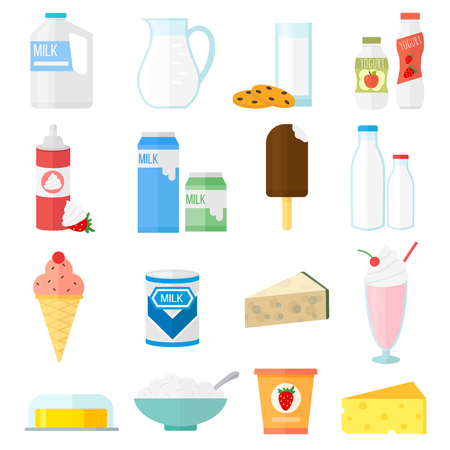 Milk products collage collection dairy products on white background. Milk products healthy drink, organic fresh yogurt bottle. Vector milk products breakfast diet group yoghurt calcium food set. Vettoriali