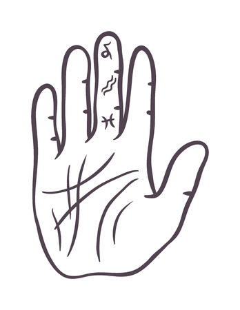 palm of hand: Pencil drawing fist hand sketch gesture vector illustration. Hand sketch human drawing creativity concept. Palm symbol divination, life line hand sketch inspiration, touch vector hand drawn element.