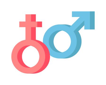 simboli maschili e femminili combinazione di vettore. Maschio e femmina sesso genere sulla forma astratta rapporto. Eterosessuale icona due maschi e femmine unione sessuale contrasta simboli grafici.