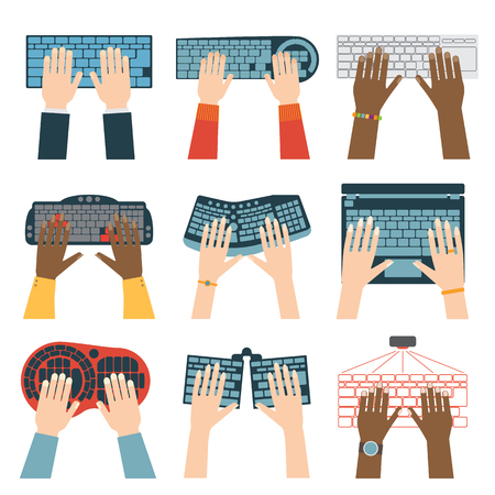 typing on computer: Users hands on keyboard and mouse of computer. Desk office worker keyboard hands concept. Computer, internet, typing. Flat style design keyboard hands vector illustration. Modern concept programmer.