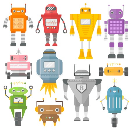 Set of cute vintage robots vector. Robots technology machine future science toys. Cyborg futuristic design robotic toy robots. Collection cute element icon character, cartoon robots.