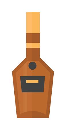 peat: Full whiskey bottle shot drink. Vector whiskey bottle brown drink. Brown whiskey bottle beverage liquor bar cognac amber, drunk ireland flavor. Taste screw scottish cocktail.