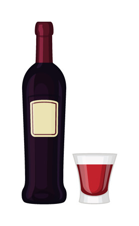 cabernet: Glass and bottle of wine drink alcohol beverage winery cabernet design vector illustration. Wine bottle and glass elegance product, red wine bottle and bar glass. Merlot product champagne brand. Illustration