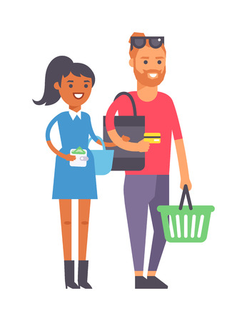 indoors: Adult couple doing shopping vector illustration. Buying happiness customer casual two shopping couple people. Happy beautiful young shopping couple indoors romance shopaholic family
