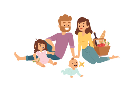 family picnic: Family picnicking summer happy lifestyle park outdoors together, enjoying meadow vacation character vector. Family picnic vacation and summer family picnic. Happy family picnic resting outdoors.