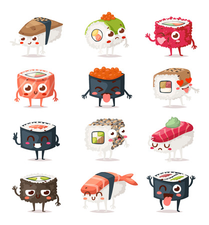 Fun sushi characters and sashimi. Japanese sushi characters food with cute faces happy vector illustration set. Japanese comic seafood cuisine sushi characters funny food icon asian menu culture. Vettoriali