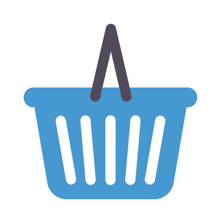 basket icon: Shopping basket icon vector illustration. Basket icon market retail store buy sale shopping trolley cart. Shopping trolley cart purchase ecommerce basket icon customer purchase symbol.