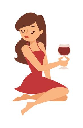 Portret van mooie jonge vrouw met een glas wijn retro stilering. Leuke vrouwen mooie stijl meisje glas wijn karakter. Glamour, gelukkig, mooi meisje een glas wijn te drinken vector viering. Stock Illustratie
