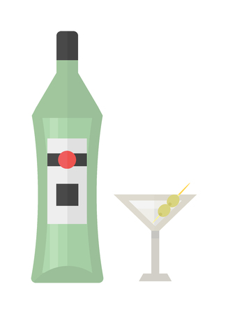scotch: Alcohol martini bottle restaurant liquid vector. Tropical scotch brewery martini bottle vine vermouth liquor. Party martini bottle design beverage. Alcohol lifestyle healthy drink. Illustration