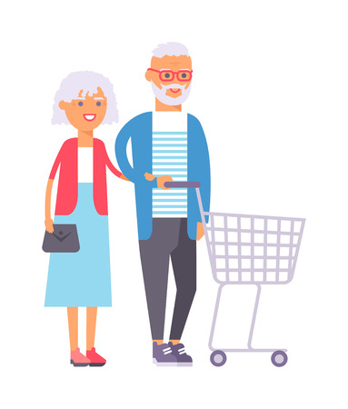 shopping people: Handsome couple doing shopping city lights vector illustration. Buying happiness customer casual two shopping couple people. Happy beautiful old shopping couple indoors romance shopaholic embracing.
