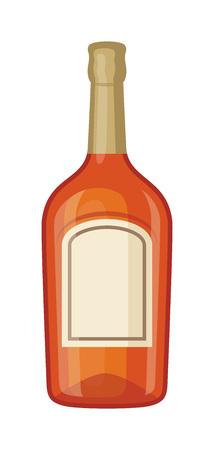 bottle screw: Full whiskey bottle shot drink. Vector whiskey bottle brown drink. Brown whiskey bottle beverage liquor bar cognac amber, drunk ireland flavor. Taste screw scottish cocktail.