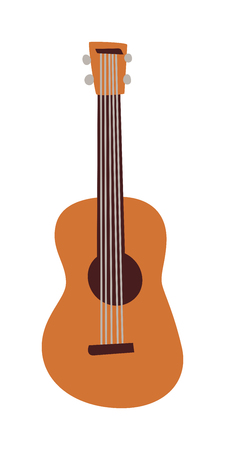 rosewood: Classical acoustic guitar isolated on white background. Single instrument vector popular guitar isolated music instrument. Sound wood, acoustic musical guitar isolated music equipment.