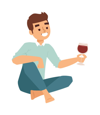 red wine glass: Relaxing man portrait with red wine glass mediterranean ambience. Vector character boy glass wine beverage alcohol romantic outdoors celebration. Young handsome adult boy with glass wine.