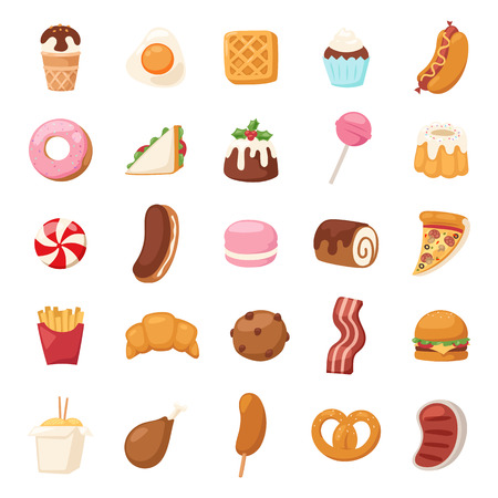 eclair: Vector food icons and sweet fast food elements. Food icons restaurant bread dinner menu. Cake design food icons kitchen beverage dinner and sweet dessert rolls, croissants. Chinese fast food.