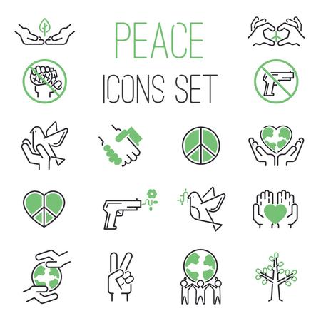 mundo manos: iconos de la paz esbozan mono símbolos vectoriales. Mundial de la esperanza propuesta de paz iconos del corazón diseño de la paloma. iconos internacionales de paz mundial silueta. cuidado de libertad y libre de guerra concepto de estilo de vida de protección.