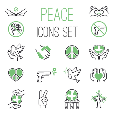 Peace icons outline mono vector symbols. World hope peace icons heart design dove set. International global silhouette peace icons. Freedom care and war free protect lifestyle concept. Illustration