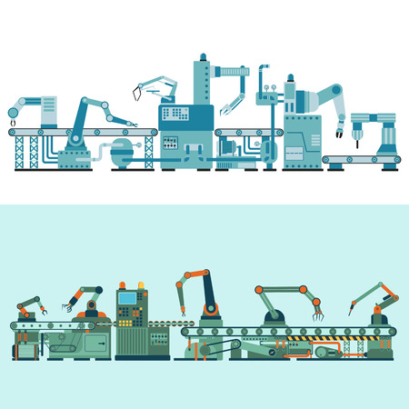 production line: Container terminal production transporter industrial technology, plant factory equipment. Vector production transporter machine transport line manufacturing. Conveyor production transporter.