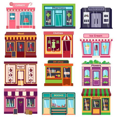 Reeks vector platte ontwerp restaurants en winkels gevel iconen. Inclusief bakker, apotheek, elektronica winkel, ijssalon, boekwinkel gevel, slagerij, trendy kledingwinkel, juwelierszaak gevel. Vector Illustratie