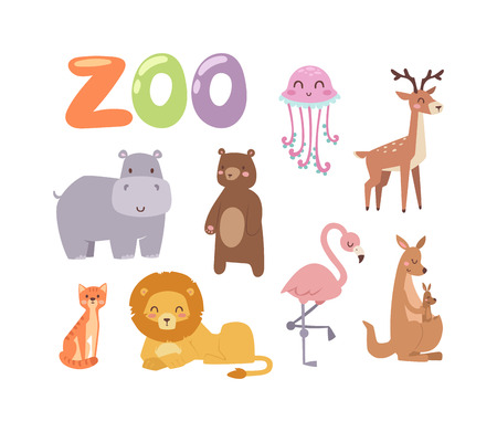 zoo cartoon: Vector zoo animals. Many different animals baby panda, sea whale, beautiful octopus, large buffalo, horned goat. Zoo animal character jungle wildlife safari collection and cartoon cute animals. Illustration