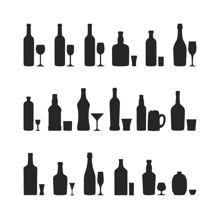 condensation on glass: Alcohol drinks beverages and cocktail whiskey drink bottle lager refreshment container. Alcohol menu drunk concept. Set of different alcohol drink bottle and glasses vector illustration. Illustration