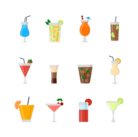 Alcohol drinks beverages and alcohol cocktail whiskey drink bottle lager refreshment container. Alcohol menu drunk concept. Set of different alcohol drink bottle and glasses vector illustration.