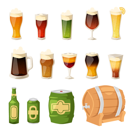 intoxicating: Beer vector icons set. Beer bottle, glass and different types of beer label. Illustration