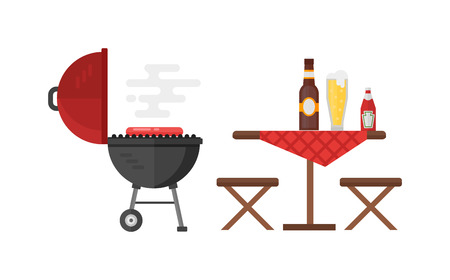 barbecue stove: Kettle barbecue grill isolated on white and kettle barbecue grill accessory. Vector camping kettle barbecue grill and metal stove cook device kettle barbecue grill. Picnic cooking bbq device.