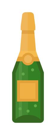 Champagner-Flasche und Glas Champagner Vektor-Illustration. Alkohol Feier Wein Champagner-Flasche isoliert. Ferien Gold Glas Party des neuen Jahres Getränk Champagner romantische Getränkeflasche.