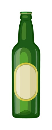 condensation on glass: Beer bottle on white background and vector beer bottle. Beer glass bottle beverage liquid cold and pub lager beer bottle. Bottle fresh dark cold beer and glass full delicious beer.