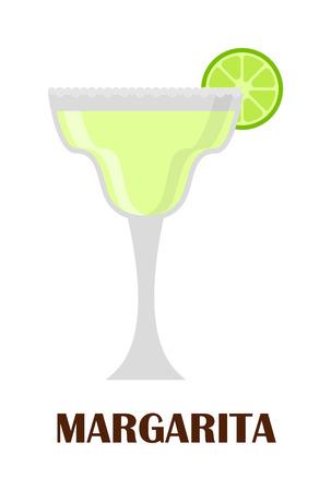 margarita cocktail: Margarita bebida con rodaja de limón aislados en blanco. Bebida coctel refresco tequila hielo jugo margarita. Vector fresco líquido clásico cóctel margarita sal licor partido guarnición.