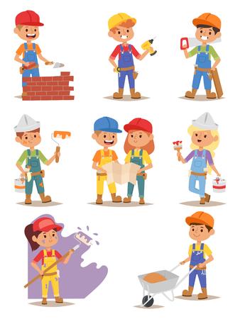 Builders kids carpenter boy builder tools set. Vector characters builders kids, cute child construction. Yellow helmet little person work equipment builders kids. Constructor game fun profession.