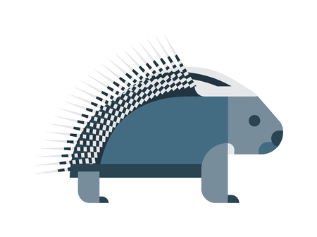 hedges: Vector bristling porcupine on white background. Cute cartoon porcupine australia wildlife echidna mammal. Porcupine hedgehog spine rodent needle dangerous spiked hedge hog vector character. Illustration