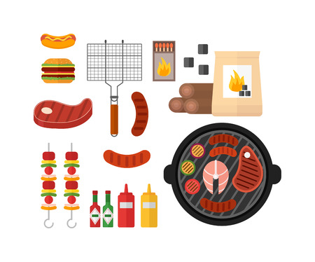 Colorful BBQ barbecue icons vector illustration. Picnic barbecue and BBQ barbecue icons elements in cartoon style. Perfect BBQ cooking barbecue icons symbol kitchen outdoor pork design.