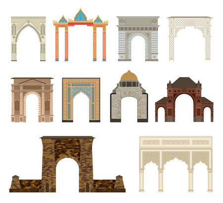 Arch vector set architecture ancient frame arch. Column entrance design arch and arch classical construction. History antique culture pillar exterior facade arch. Ornament gateway monuments