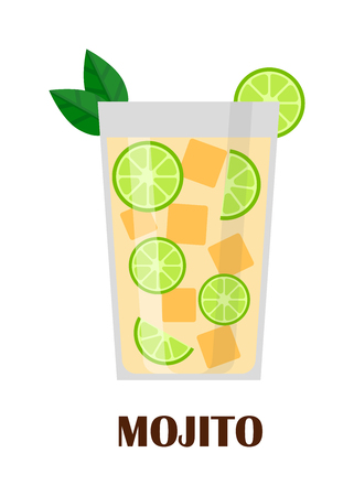 mohito: Mojito cocktail in glass isolated on white background. Mohito water splash, peppermint drink. Lemon rum green drink alcohol mohito. Vector freshness beverage citrus cocktail lime drink.