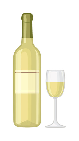 Glass and bottle of wine drink alcohol beverage winery cabernet design vector illustration. Wine bottle and glass elegance product, red wine bottle and bar glass. Merlot product champagne brand. Illustration