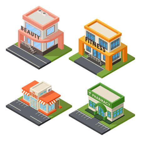 fitness center: Vector isometric buildings set. Convenience store supermarket isometric building. Warehouse, beauty salon, fitness center isometric buildings design. Urban business construction design set.