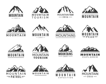 Mountain vector icons set. Set of mountain silhouette elements. Outdoor icon snow ice mountain tops, decorative symbols isolated. Vettoriali