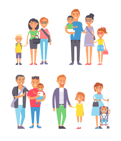 mustached: Different family, different kind of families. Different family special needs children and different family blended couple. Different family lifestyle baby husband kid and friendship parents set. Illustration