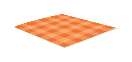 picnic tablecloth: Ffolded tablecloth isolated on white. Tablecloth background pattern. Illustration of traditional gingham dining cloth with fabric texture. Checkered picnic cooking tablecloth.