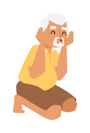 mam: Playing grandfather kneeling vector character. Old caucasian happiness adult father playing grandfather. Playing grandfather lifestyle person laughing joy portrait. Smile elderly play man character.