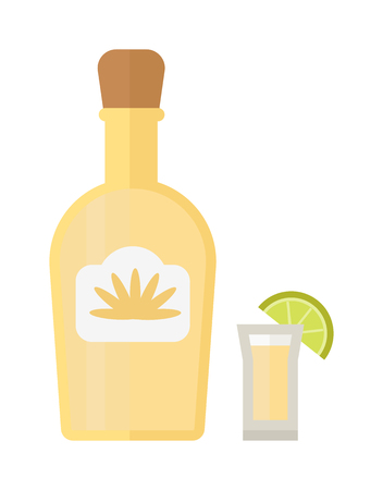 shot glass: Bottle of gold tequila and shot glass with lime slice. Isolated on white background tequila bottle mexican liquor. Citrus party tequila bottle taste garnish cool refreshment alcohol. Illustration