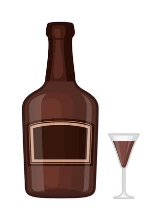 peat: Full whiskey bottle ice aroma shot drink. Vector whiskey bottle and short glass brown drink. Brown whiskey bottle beverage liquor bar cognac amber, drunk ireland flavor. Taste screw scottish cocktail.