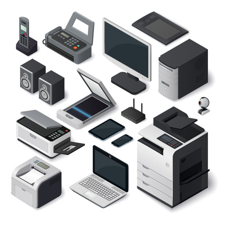 Office equipment isometric printer interior paper furniture style. Set of vector isometric office equipment pen tablet computer industry. Isometric office equipment speakers room digital box symbol. Stok Fotoğraf - 60171545