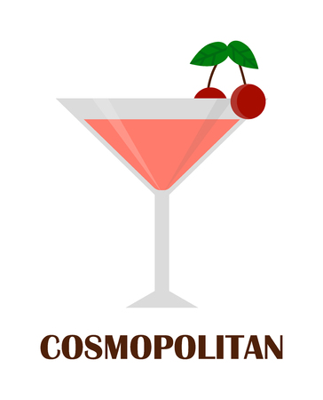 mixed drink: Cosmopolitan cocktail with cherry isolated. Drink glass cold alcohol beverage cosmopolitan cocktail. Refreshment fruit summer cool party cosmopolitan cocktail. Martini lime liquor vodka mixed water Illustration