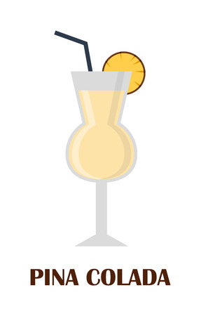 pina colada: Glass of cocktail pina colada on white background. Cocktail menu card, pina colada recipe. Flat design style pina colada cocktail vector illustration. Collection restaurant drink fresh ingredients.