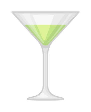 mixed drink: Alcohol cocktail with cherry isolated. Drink glass cold alcohol beverage cocktail. Refreshment fruit summer cool party juice cocktail. Transparent martini mixed drink vector.